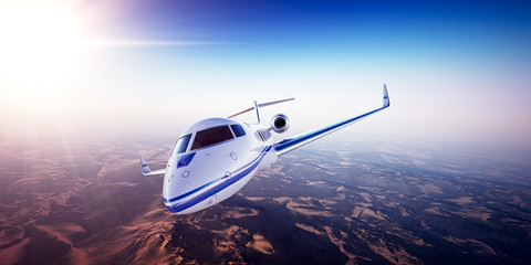 Realistic photo of White Luxury generic design private jet flying over the mountains. Empty blue sky with sun at background. Business Travel Concept. Horizontal. 3d rendering