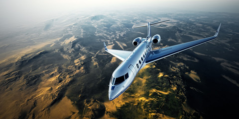Realistic photo of silver generic design private jet flying over the mountains. Empty blue sky with sun at background. Business Travel by modern luxury aircraft. Horizontal. 3d rendering