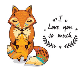 Cute illustration foxes with text I love you so much