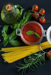 Fresh ingredients for making pasta