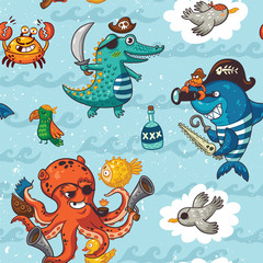 Seamless pattern with underwater pirates, crocodile, octopus, shark, crab
