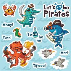 Sticker set of underwater pirates in cartoon style