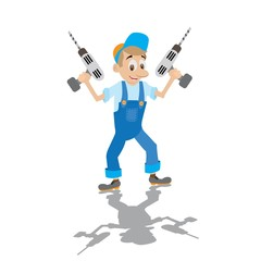 locksmith in working overalls holds the electric drill,