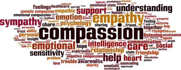 Compassion word cloud concept. Vector illustration
