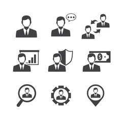 Business Man and Management icons set