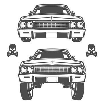 Set of lowrider cars,lowrider,lowrider machine,lowrider for emblems and design.