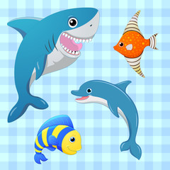 Sea fishes set. Vector fish. Cartoon cute character. Cartoon fish. Hand draw illustration.