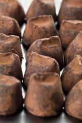 a bunch of chocolate truffles