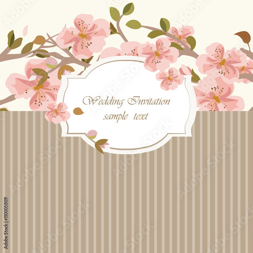 Vintage Invitation Card with Watercolor Flowers Background Spring – Vintage Invitation Cards