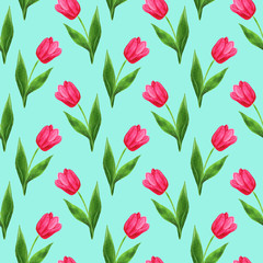 watercolor seamless tulips pattern turquoise background