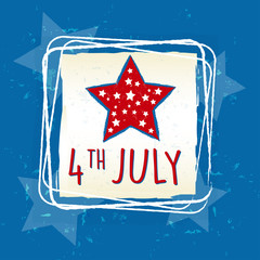 4th of July with star in square frame - USA American Independenc