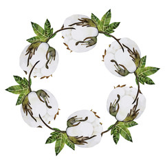 Watercolor cotton wreath