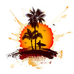 Tropical sunset. Surfer and palm trees.