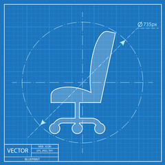 blueprint icon of office chair