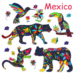 A set of vector images of Mexican animals. Vector illustration.