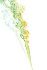 Abstract green smoke from aromatic sticks.