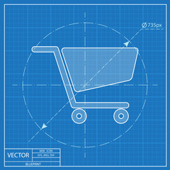 blueprint icon of cart
