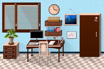 Vector interior office room in dark wooden style. Vector illustration