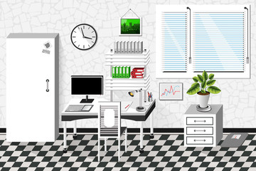 Vector interior office room in white style. Vector illustration