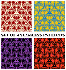 Collection of 4 fashionable geometric seamless patterns with unusual ornament of red, blue, yellow, violet, white and black shades