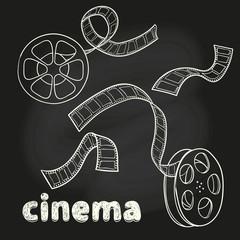 Cinema set. Doodle film reel and strip. Sketch vector illustration.