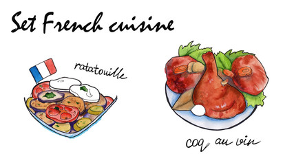 Set sketches of French cuisine. isolated. watercolor