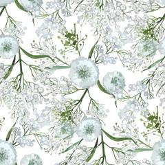 Watercolor  gypsophila seamless pattern