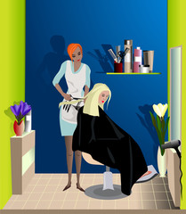 the hairdresser makes a fashionable haircut to the client