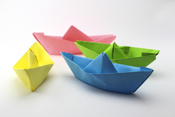 Paper Boats - yellow, blue, green, purple