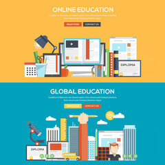 Flat design concept banner - Online and Global Education