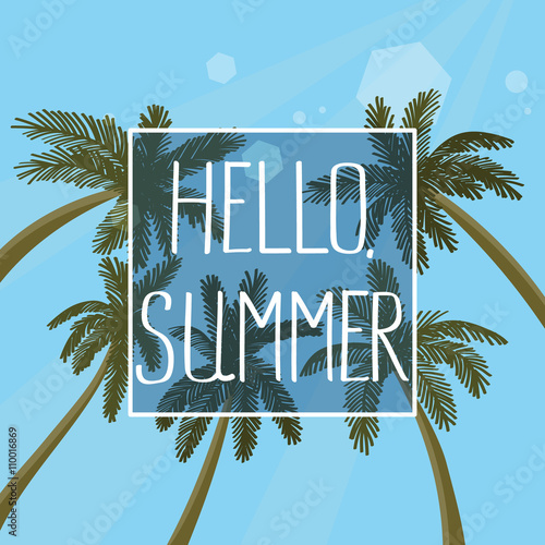 Hello Summer Hand Drawn Lettering Quote On A Palm Trees Background