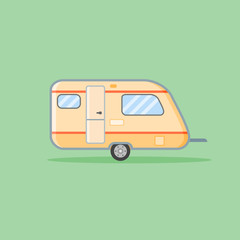 Camper trailer flat style icon. Caravan vector illustration on green background.