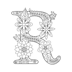 Letter R coloring book for adults vector