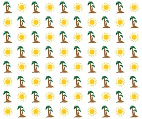 Sunny summer holiday background with shining yellow sun and brown sandy island with two green palm trees with green leaves and brown trunk in a row alternately on a white background