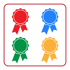 Ribbon award icons set. Blue, red, green yellow rosette badge, on white background. Medal design element. Flat label emblem. Blank certificate. Symbol victory, prize, winner best. Vector illustration