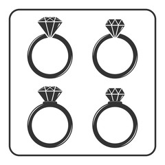 Diamond engagement ring icons set. Shiny crystal signs. Black circle silhouette isolated on white background. Flat fashion design element. Symbol engagement, gift, jewel, expensive Vector Illustration