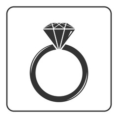 Diamond engagement ring icon. Crystal sign. Black circle silhouette isolated on white background. Flat fashion design element. Symbol of engagement, gift, jewel,luxury, expensive. Vector Illustration.