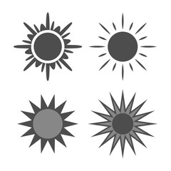 Sun icons set. Collection light gray signs with sunbeam. Design elements, isolated on white background. Symbol of sunrise, heat, sunny and sunset, morning, sunlight. Flat style. Vector Illustration.