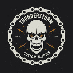 Vintage motorcycle t-shirt graphics. Thunderstorm. Custom motors. Vector illustration.