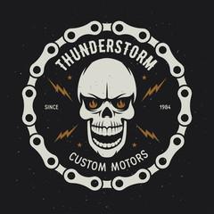 Vintage motorcycle t-shirt graphics. Thunderstorm. Custom motors. Vector illustration.