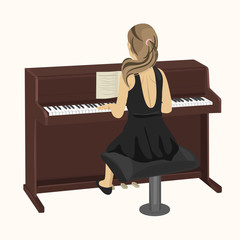 back view of young woman playing brown upright piano