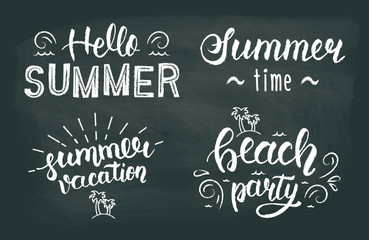 Summer chalk hand lettering set. Summer chalk typographic and calligraphic set.  Summer chalk logos and emblems. Vector