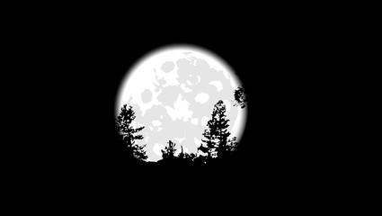 silhouettes of trees on a background of the full moon