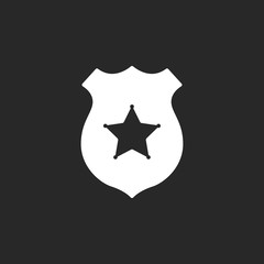 Police office badge simple icon on background