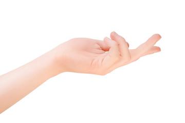 Woman hand in inviting or demanding gesture