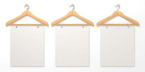 Wooden hangers with blank sign. 3D render illustration isolated on white background