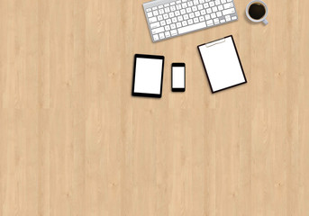 Office table top view mock up image with smart devices. Wooden background