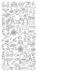 Doodle beach and Travel icons Hand drawn picture