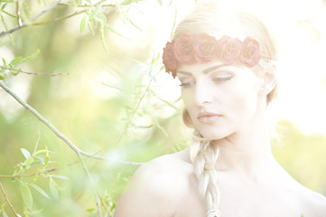 Blonde Wearing A Flower Cown