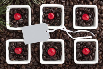 close-up shot of coffee beans and empty placard.